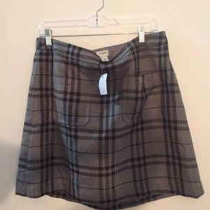 A plaid J Crew skirt, size 14